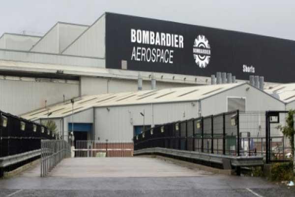 مقر إدارة بومباردييه ومصنعها في بلفاست في 27 سبتمبر 2017.