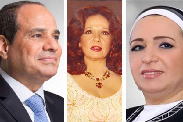 شادية بين السيسي وزوجته انتصار