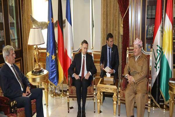 بارزاني مجتمعا مع السفيرين الالماني والفرنسي لدى العراق