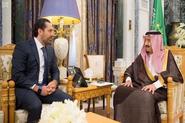 العاهل السعودي الملك سلمان بن عبد العزيز خلال استقباله الحريري