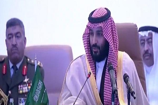 الأمير محمد بن سلمان ولي العهد السعودي خلال افتتاح اجتماع وزراء دول التحالف الإسلامي