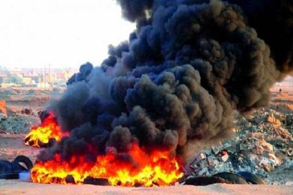 جانب من إحراق النفايات في لبنان