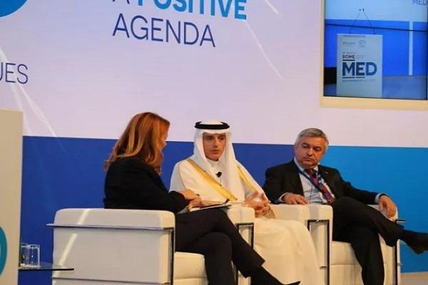 وزير الخارجية عادل الجبير خلال مشاركته في أعمال منتدى روما للحوار المتوسطي