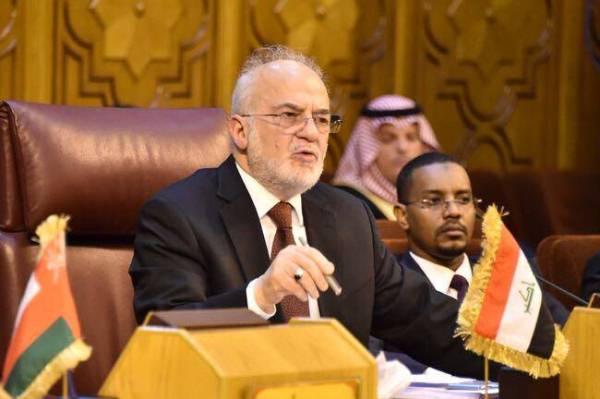 الجعفري متحدثا خلال اجتماع وزراء الخارجية العرب في القاهرة حول القدس