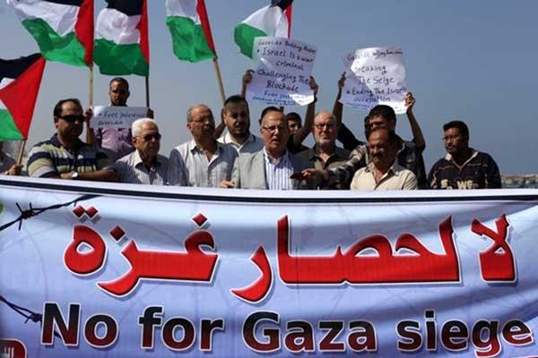 معتصمون متضامنون مع غزة