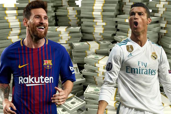 تصدر البرتغالي رونالدو والأرجنتيني ميسي الترتيب العالمي من حيث الزيادة التي حققها كل منهما في ثروتهما المالية خلال العام الجاري