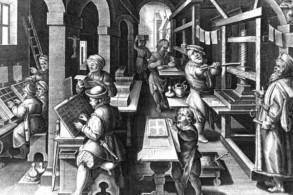 لوحة تصور مطبعة قديمة حوالى عام 1550