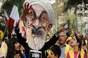 متظاهرون في ايران ضد روحاني