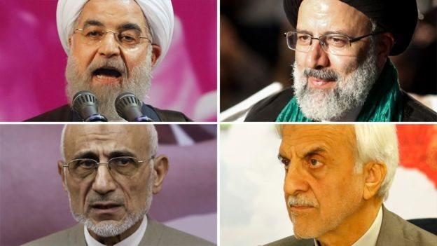 يتنافس على مقعد الرئاسة الإيرانية أربعة مرشحين، أبرزهم الرئيس الحالي حسن روحاني، ورجل الدين المتشدد إبراهيم رئيسي