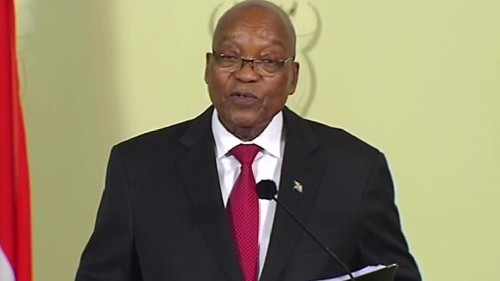 زوما أعلن في خطاب متلفز استقالته وأبدى اعتراضه على إجراءات حزبه