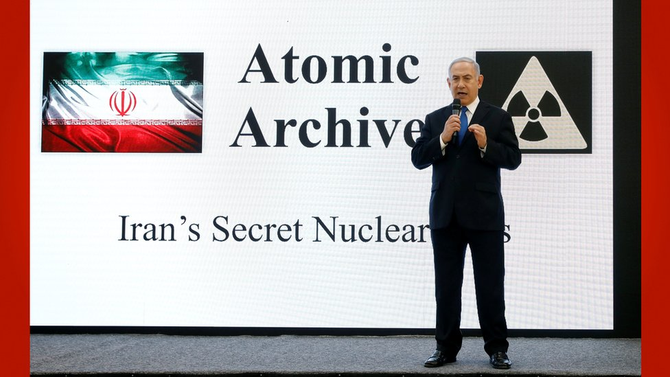 نتنياهو يشرح مايقول إنه تلاعب الحكومة الإيرانية بالاتفاق النووي