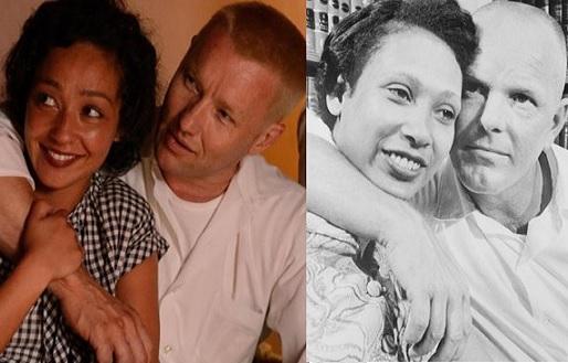 من اليمين، جويل إيجرتون وروث نيغ وهما يجسدان الزوجين ريتشارد وميلدريد لافينغ، ومن اليسار صورة للزوجين الحقيقيين