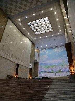 متحف لينين؛ متحف تاريخ اوزبكستان الآن، المعمار: (يفغيني روزانوف وغيره)، 1970، طشقند/ اوزبكستان، منظر داخلي.