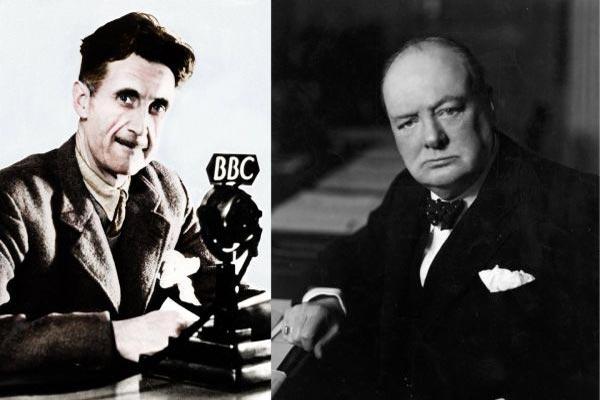 بوينستون تشرشل (يمين) وجورج أورويل