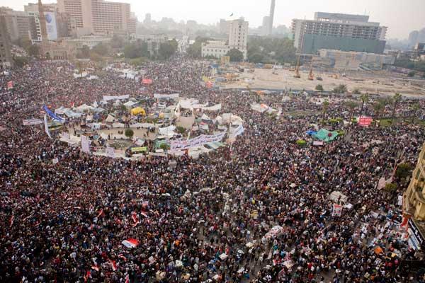 ميدان التحرير في القاهرة كما بدا أثناء ثورة يناير عام 2011