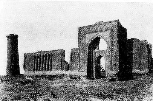 خان رباط الملك (1078 -9)، اقليم بخارى، بلاد ما وراء النهر، واجهة الجدار الجنوبي. تفصيل.