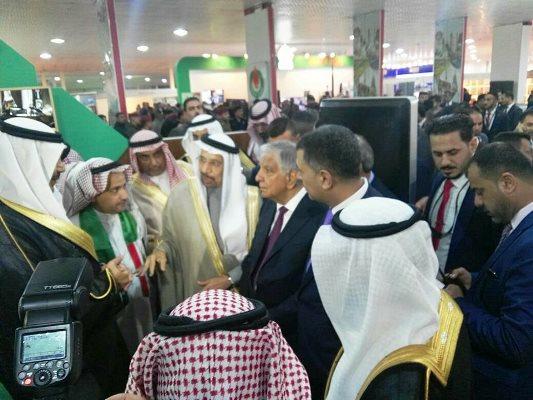 وزيرا النفط العراقي والطاقة السعودي خلال افتتاح معرض البصرة للنفط والطاقة