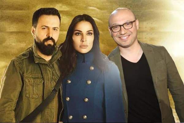 السيناريست هوزان عكو مع بطلي العمل