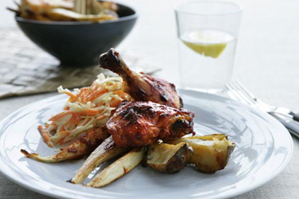 الدجاج المشوي معسلطة كولسلو والخضَر