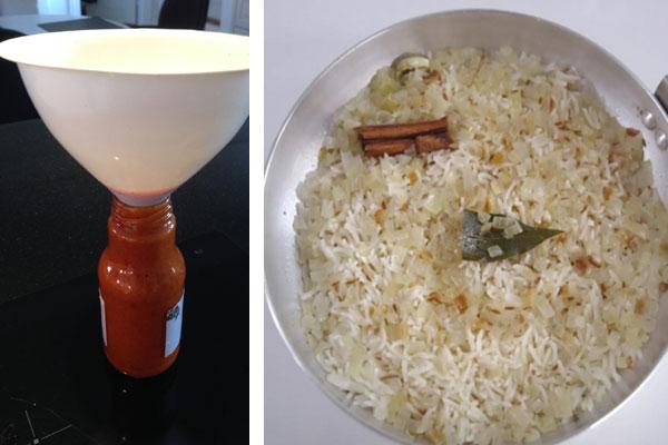 أرز الـpilau وصلصة الفلفل الحار