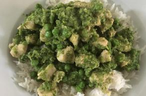 الدجاج الأخضر مع الأرز