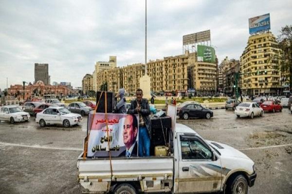 صورة لميدان التحرير في وسط القاهرة ملتقطة في 25 يناير