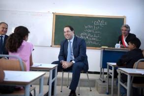 يوسف الشاهد رئيس الحكومة التونسية في افتتاح السنة الدراسية باحدى مدارس تونس يوم 15 سبتمبر