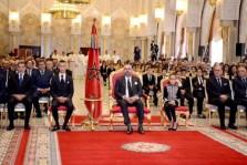 العاهل المغربي لدى ترؤسه الاثنين حفل تقديم البرنامج التنفيذي لدعم التمدرس والحصيلة المرحلية لتنفيذ إصلاح التربية والتكوين في القصر الملكي بالرباط ( ماب)