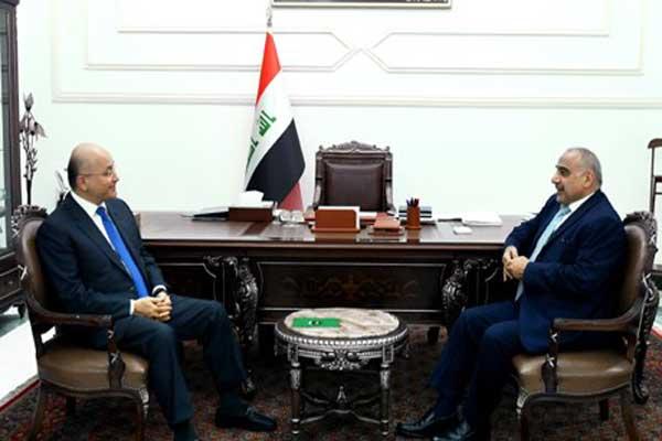 الرئيس صالح وعبد المهدي خلال اجتماع