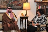 جانب من لقاء وزير الثقافة السعودي مع وزيرة الثقافة المصرية (واس)
