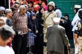 مصريون أمام أحد مراكز الاقتراع