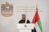 وزير الخارجية الاماراتي الشيخ عبدالله بن زايد خلال مؤتمر صحافي سابق