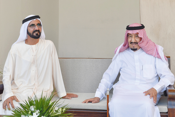 الملك سلمان وحاكم دبي محمد بن راشد