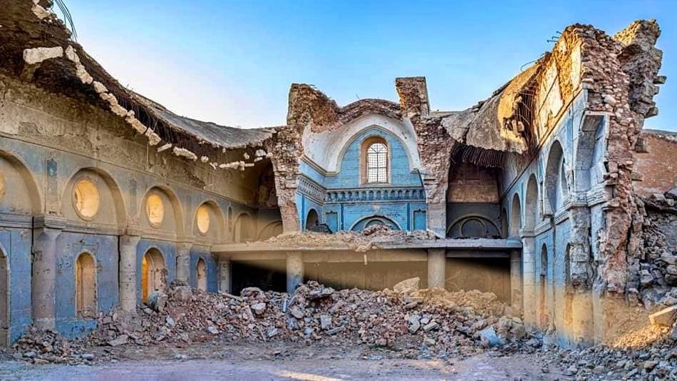 كنيسة الطاهرة في الموصل بعد تدميرها من قبل داعش