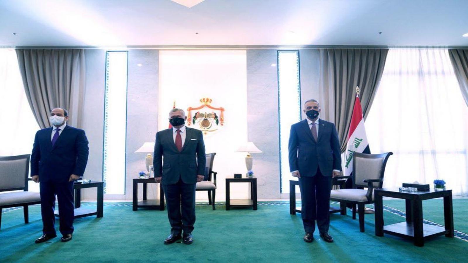 الكاظمي والملك عبد الله والسيسي في قمة عمان الثلاثية