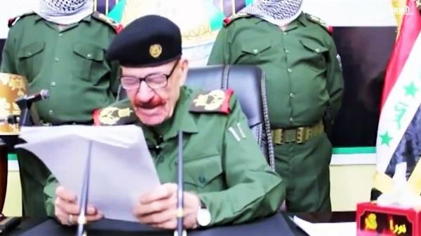 عزة الدوري في أحد خطاباته المسجلة قبل ثلاث سنوات
