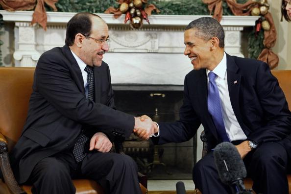 المالكي واوباما في لقاء سابق عام 2009