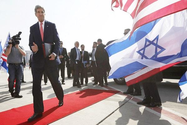 وزير الخارجية الاميركي مغادراً تل أبيب