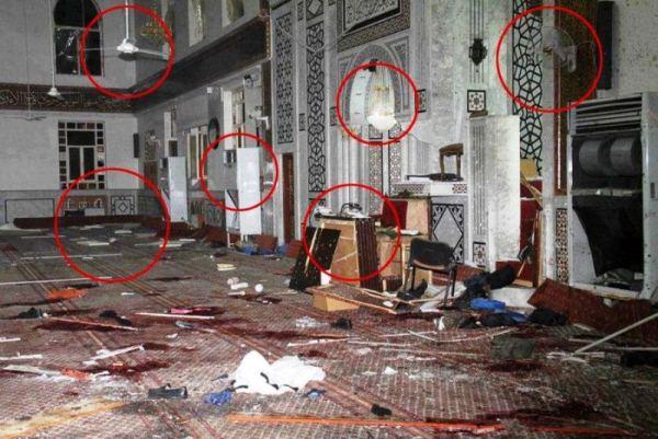 صورة اعتمد عليها الناشطون للتشكيك في حقيقة انفجار مسجد الإيمان