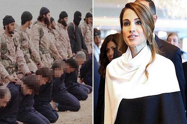 صورة مجمعة للملكة رانيا وإرهابيي داعش ـ ديلي ميل