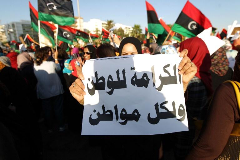 مظاهرة في بنغازي تساند العملية العسكرية لحفتر ضد المتشددين