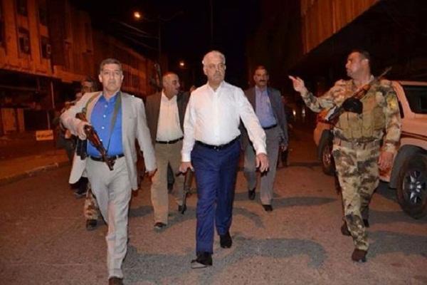 اثيل النجيفي محافظ بابل في جولة ليلية بشوارع الموصل