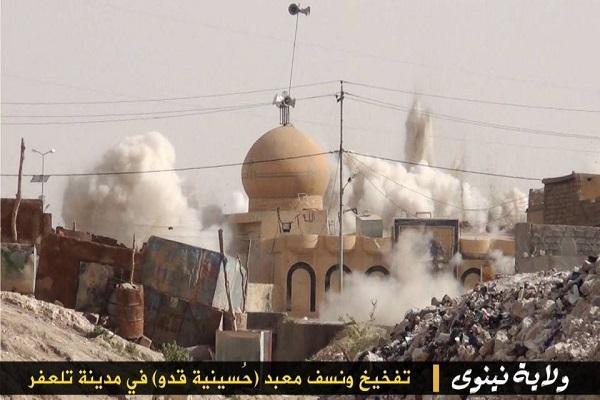 داعش تدمر مسجد حسينية قدو في مدينة تلعفر