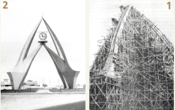 صورتان بعدسة المصور النمساوي بوبليك للمراحل الأولية في مشروع برج دوار الساعة