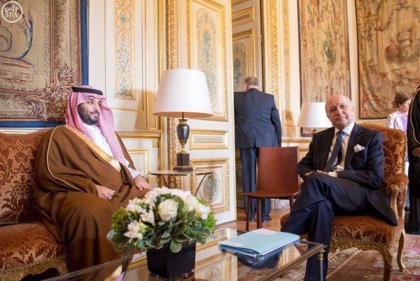 فابيوس مستقبلا ولي ولي العهد السعودي الأمير محمد بن سلمان