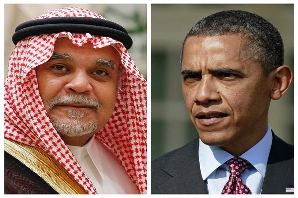 الرئيس الاميركي باراك اوباما والامير بندر بن سلطان