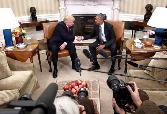 مصافحة تاريخية بين أوباما وترامب في البيت الأبيض