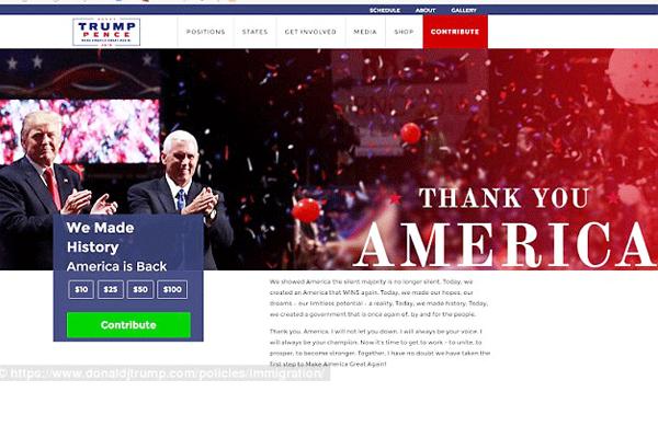 موقع ترامب على شبكة انترنت