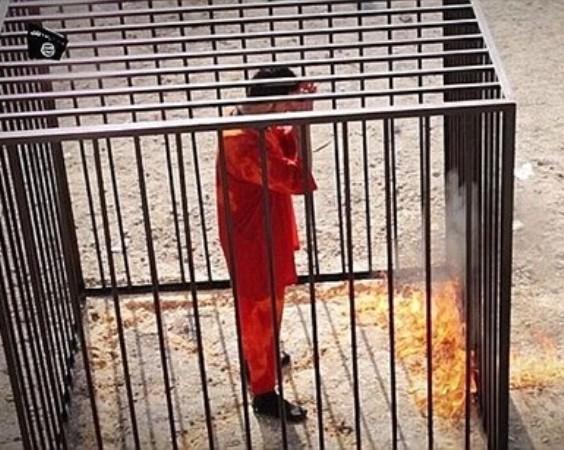 معاذ الكساسبة لحظات قبل اعدامه حرقا من طرف الدواعش