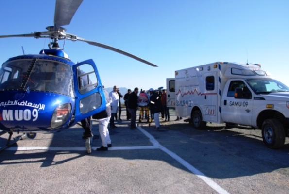 نماذج من تدخل المروحيات الطبية في إطار نظام النقل الصحي الجوي الاستعجالي